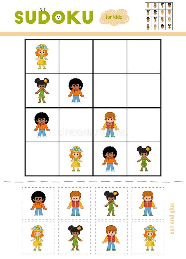 Sudoku för barn, utbildningslek illustration för diagram för tecknad filmteckenbarn färgrik stock illustrationer