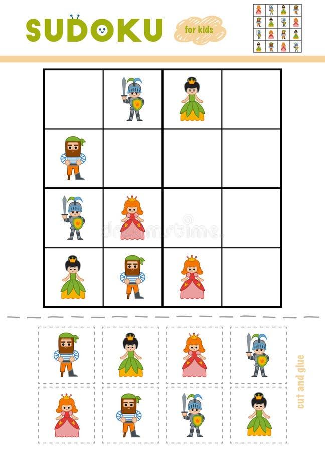 Sudoku för barn, utbildningslek illustration för diagram för tecknad filmteckenbarn färgrik royaltyfri illustrationer