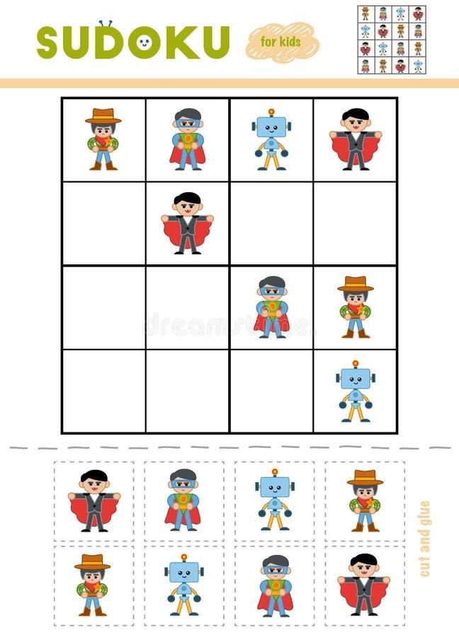 Sudoku för barn, utbildningslek illustration för diagram för tecknad filmteckenbarn färgrik vektor illustrationer