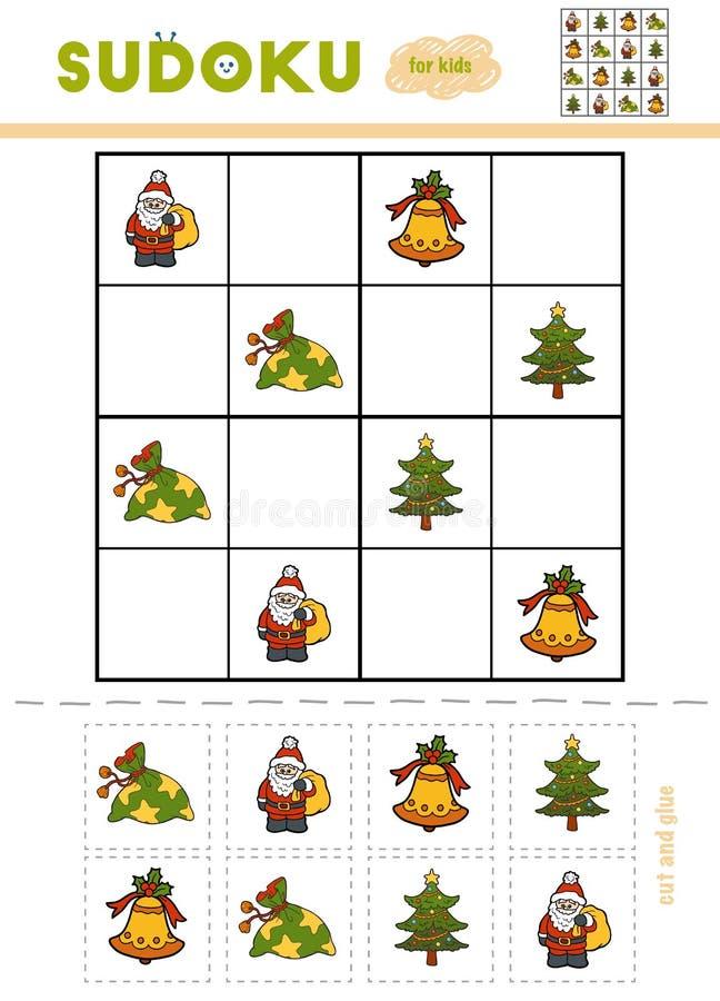 Sudoku för barn, utbildningslek Uppsättning av julobjekt - Gi stock illustrationer