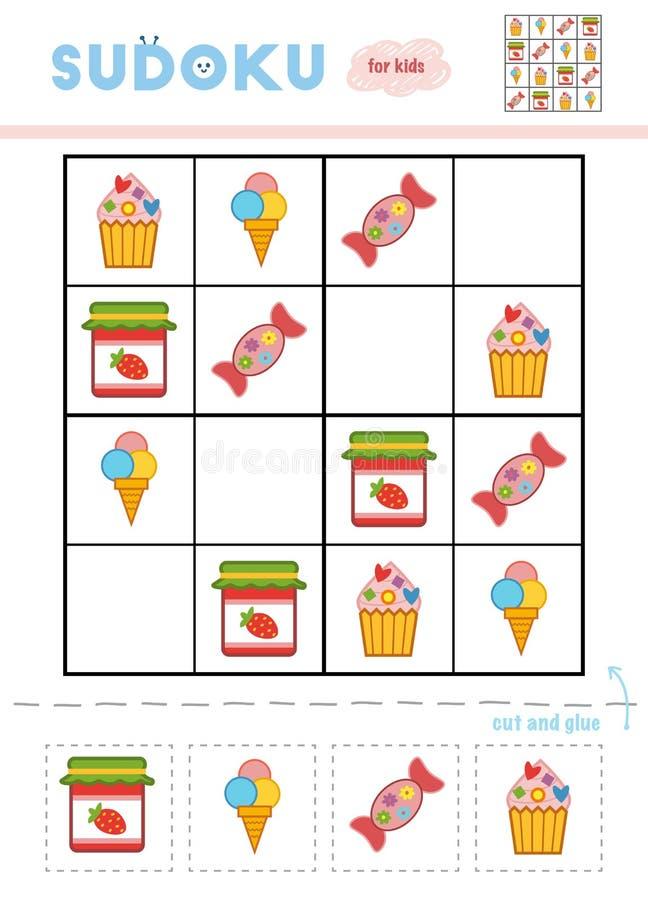 Sudoku för barn, utbildningslek Uppsättning av söt mat stock illustrationer