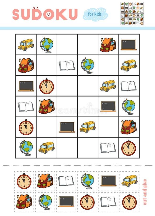 Sudoku för barn, utbildningslek Uppsättning av skolaobjekt vektor illustrationer