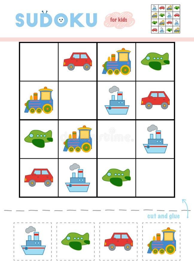 Sudoku för barn, utbildningslek Uppsättning av transportobjekt stock illustrationer