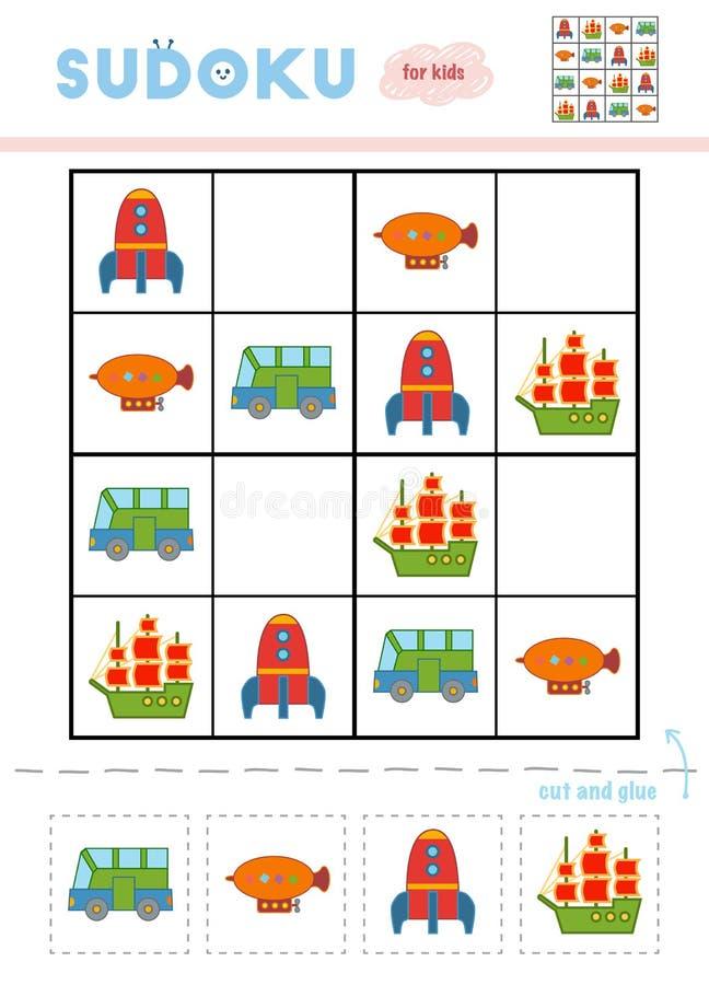 Sudoku för barn, utbildningslek Uppsättning av transportobjekt royaltyfri illustrationer