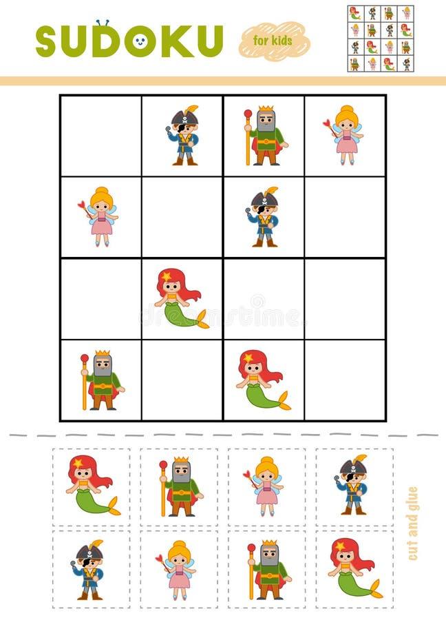 Sudoku für Kinder, Bildungsspiel Bunte grafische Abbildung für Kinder stock abbildung