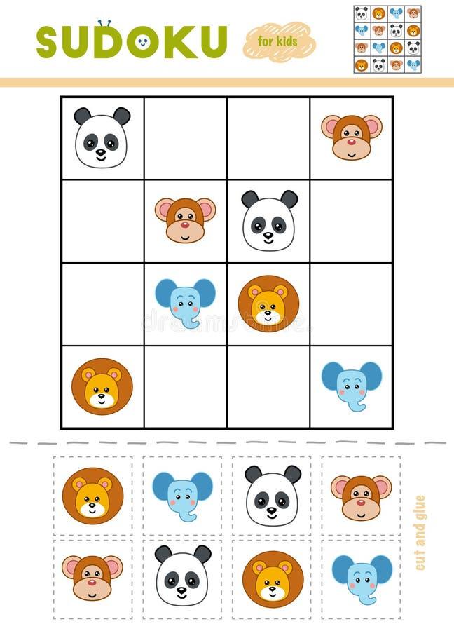 Sudoku für Kinder, Bildungsspiel Hand gezeichneter Vektor getrennt auf Weiß lizenzfreie abbildung
