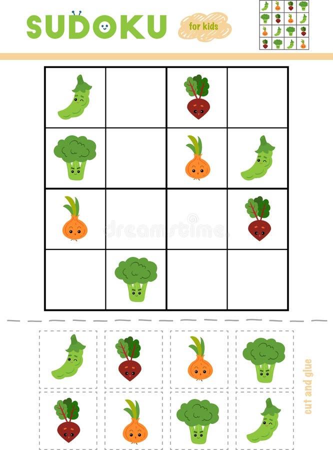 Sudoku für Kinder, Bildungsspiel Set Gemüse stock abbildung