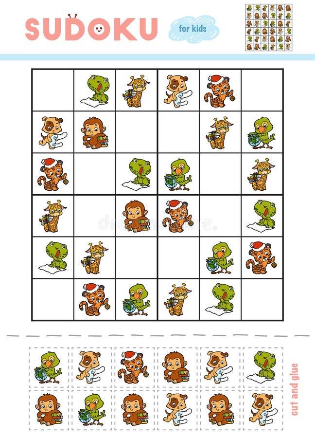 Sudoku für Kinder, Bildungsspiel Set Karikaturtiere stock abbildung