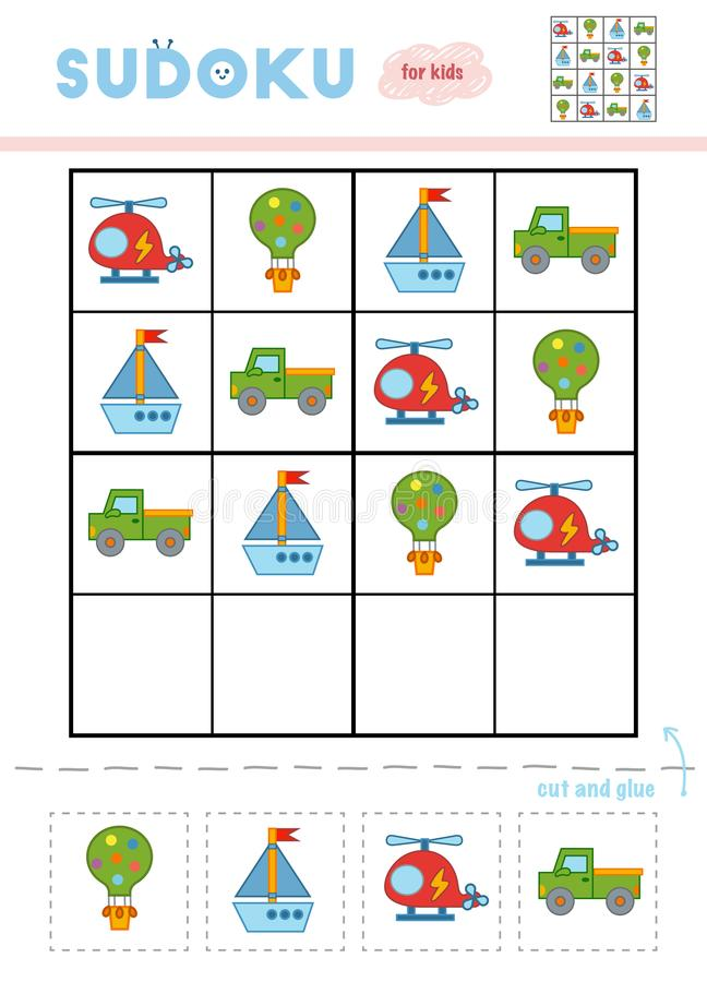 Sudoku für Kinder, Bildungsspiel Verkehrsmittel vektor abbildung