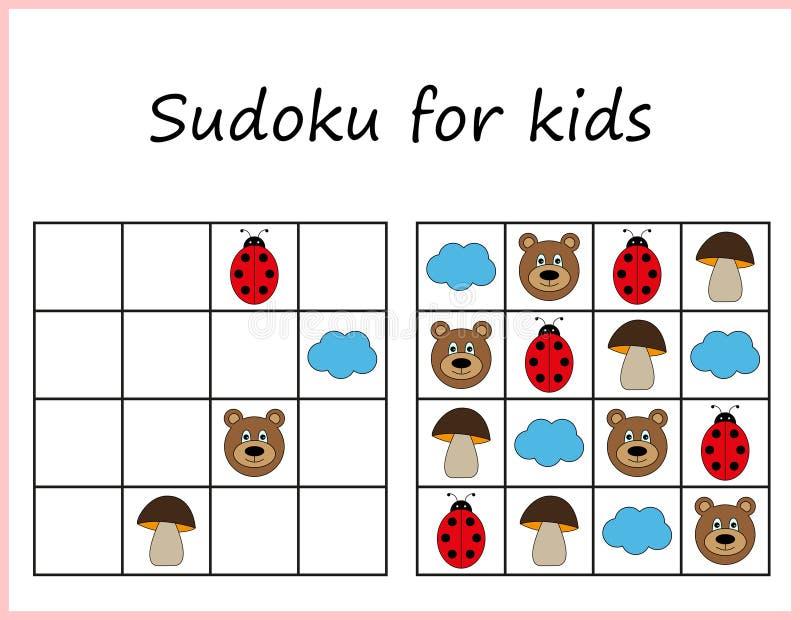Sudoku für Kinder Spiel für Vorschulkinder, Ausbildungslogik Arbeitsblatt für Kinder lizenzfreie abbildung