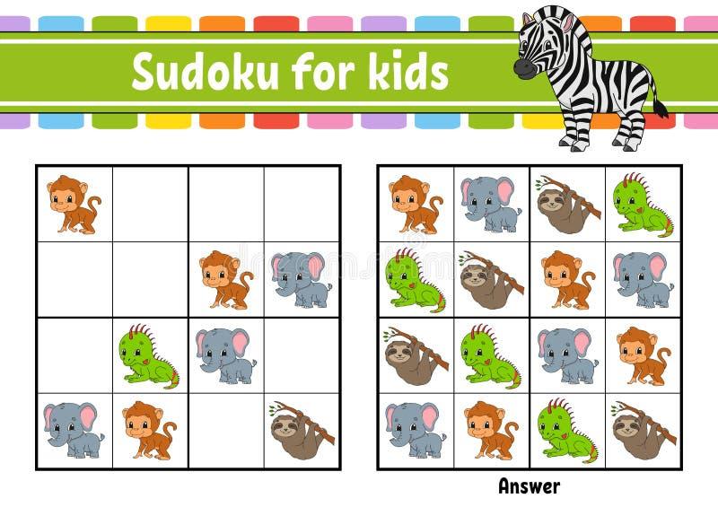 Sudoku f?r Kinder Sich entwickelndes Arbeitsblatt der Ausbildung T?tigkeitsseite mit Bildern R?tselspiel f?r Kinder Training logi vektor abbildung