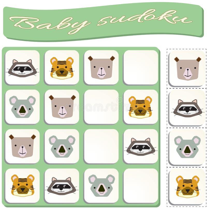 Sudoku f?r ungar med f?rgrika geometriska diagram lek f?r f?rskole- ungar stock illustrationer