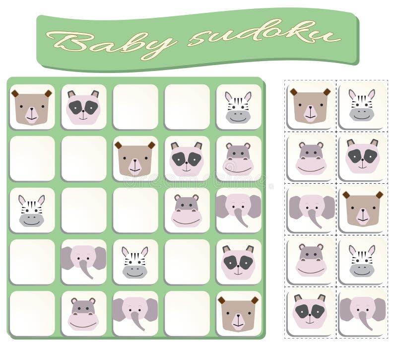 Sudoku f?r ungar med f?rgrika djurbilder royaltyfri illustrationer