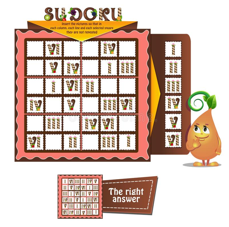 Sudoku game adults candles. Sudoku game for children and adults with candles. Kids activity sheet. Training logic, iq, educational game vector illustration