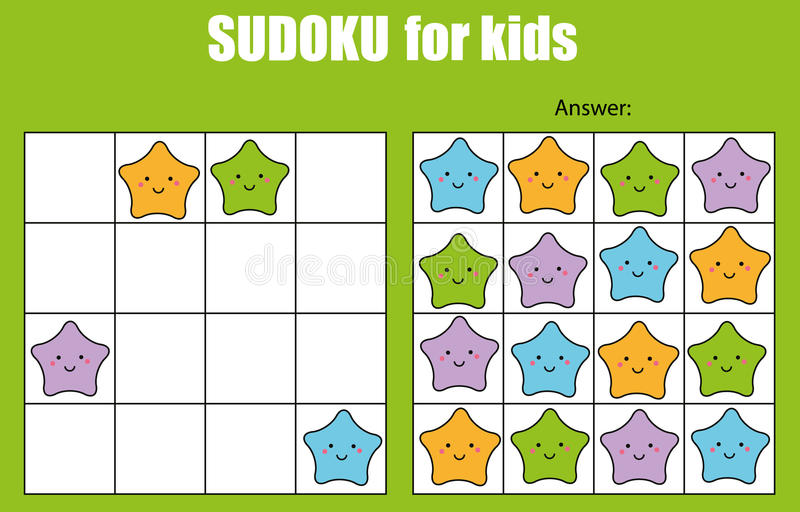 Sudoku game for children. Kids activity sheet with cute stars characters stock illustration