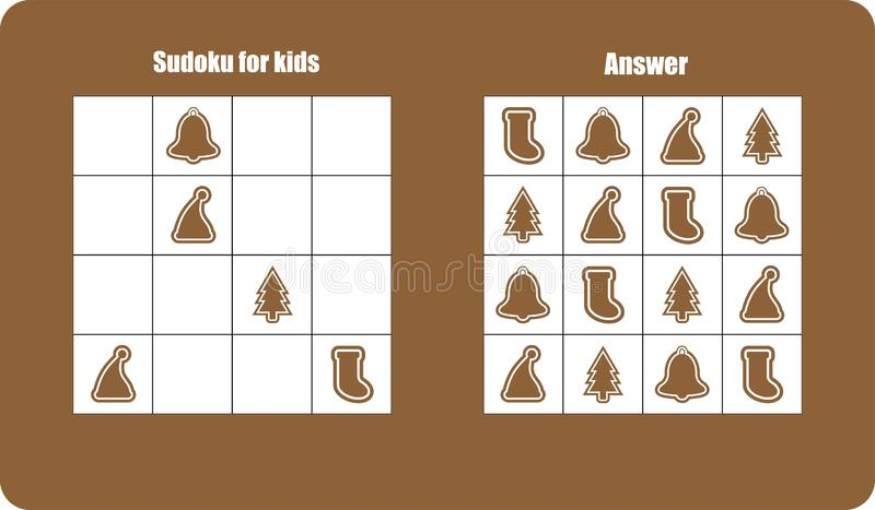 Sudoku game with christmas pictures gingerbread for children, easy level, education game for kids, preschool worksheet activity, royalty free illustration