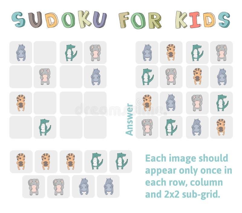 Sudoku gra dla dzieci z obrazkami Dzieciak aktywności prześcieradło z śmiesznymi zwierzętami Logiki edukaci gra wektor royalty ilustracja