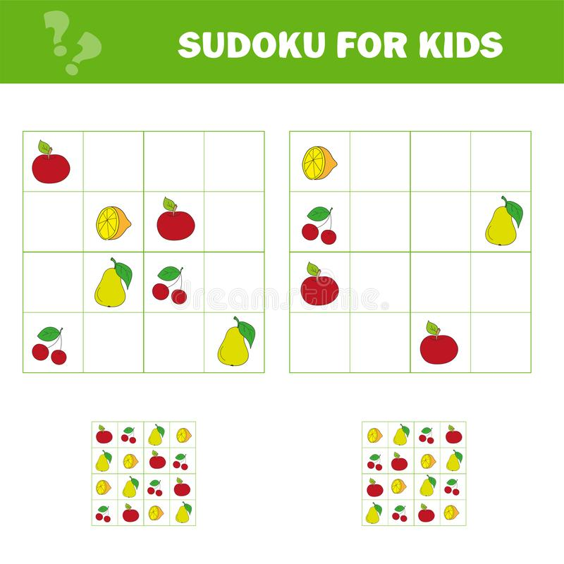 Sudoku gra dla dzieci z obrazkami Dzieciak aktywno?ci prze?cierad?o kresk?wki projekta elementu owoc odosobneni przedmioty ilustracji