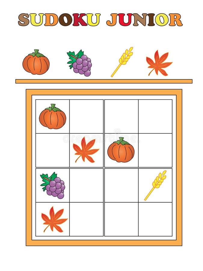 Sudoku junior. Game for thanksgiving: Sudoku junior vector illustration
