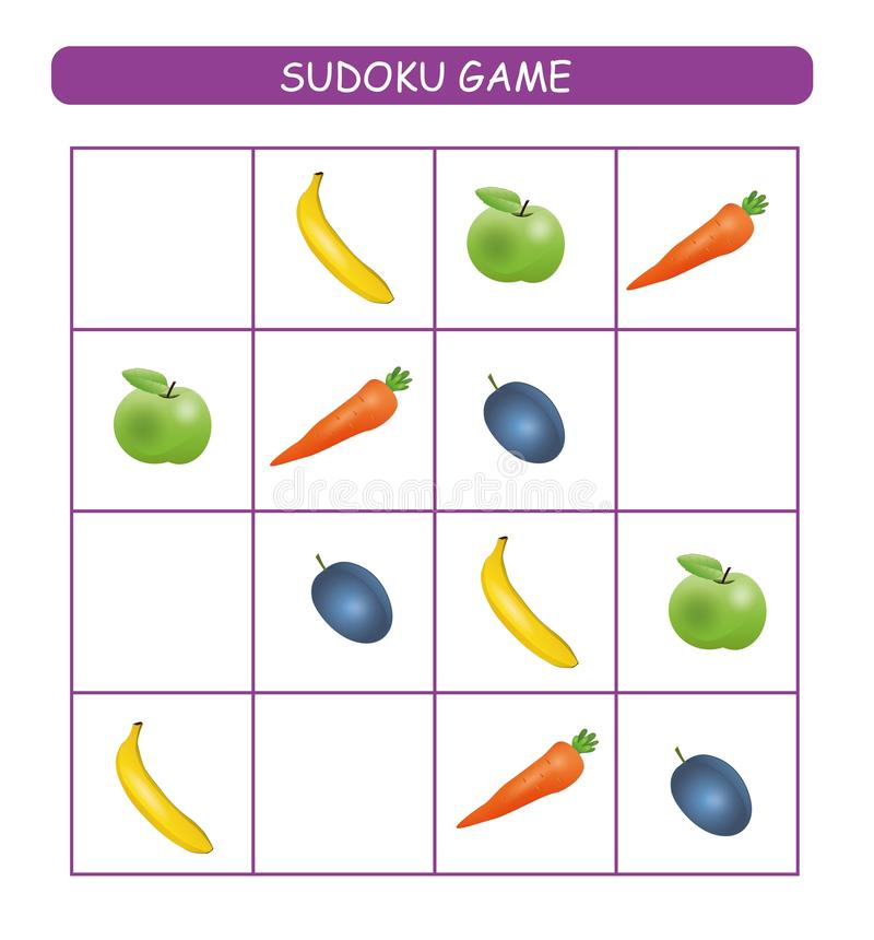 Sudoku for kids. Kids activity sheet. Training logic, educational game. Sudoku game with fruits and vegetables. vector illustration