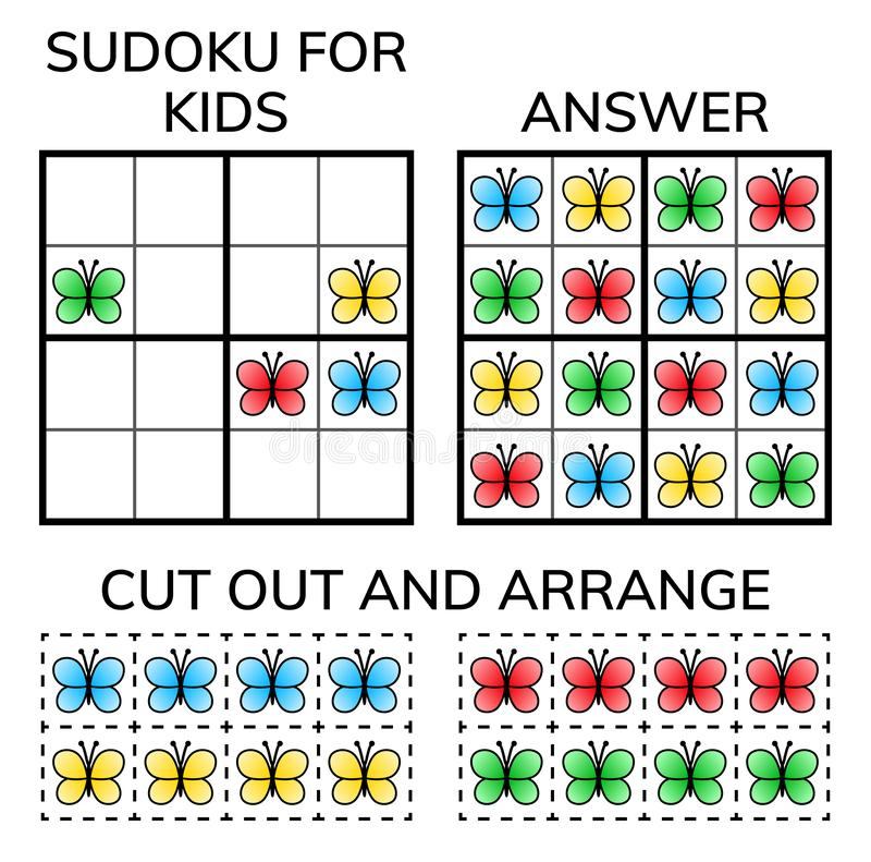Sudoku Kinder und erwachsenes mathematisches Mosaik Magisches Quadrat Logikrätselspiel Digital-Rebus vektor abbildung