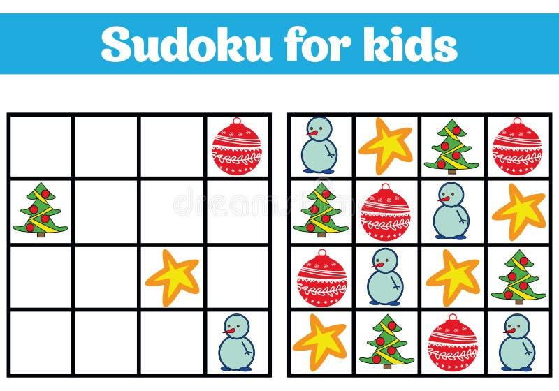 Sudoku lek för barn med bilder Logiklek för förskole- barn rebus för barn Bildande modig vektorillustratio vektor illustrationer