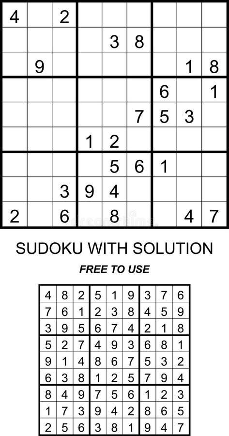 Sudoku met oplossing vrij te gebruiken royalty-vrije stock foto's