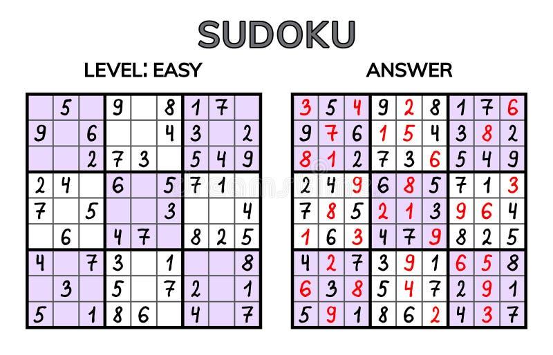 Sudoku Niños y mosaico matemático adulto Cuadrado mágico Juego del rompecabezas de la lógica Jeroglífico de Digitaces stock de ilustración