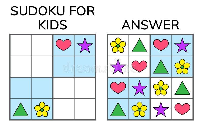 Sudoku Niños y mosaico matemático adulto Cuadrado mágico lógica ilustración del vector