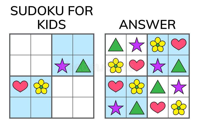 Sudoku Niños y mosaico matemático adulto Cuadrado mágico lógica libre illustration