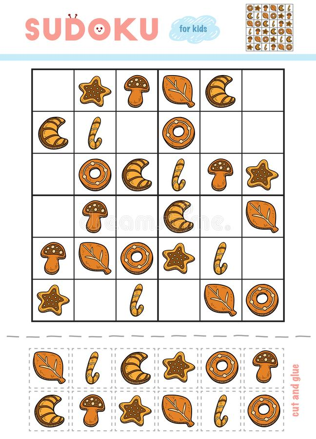 Sudoku para crianças, jogo da educação Jogo de bolinhos do Natal ilustração stock