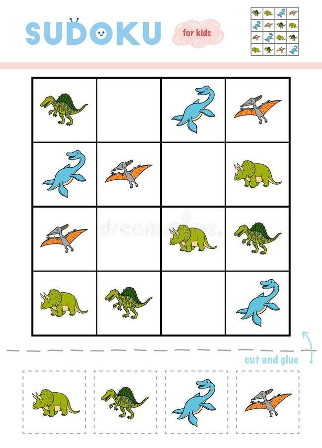 Sudoku para los niños, juego de la educación Conjunto de dinosaurios stock de ilustración