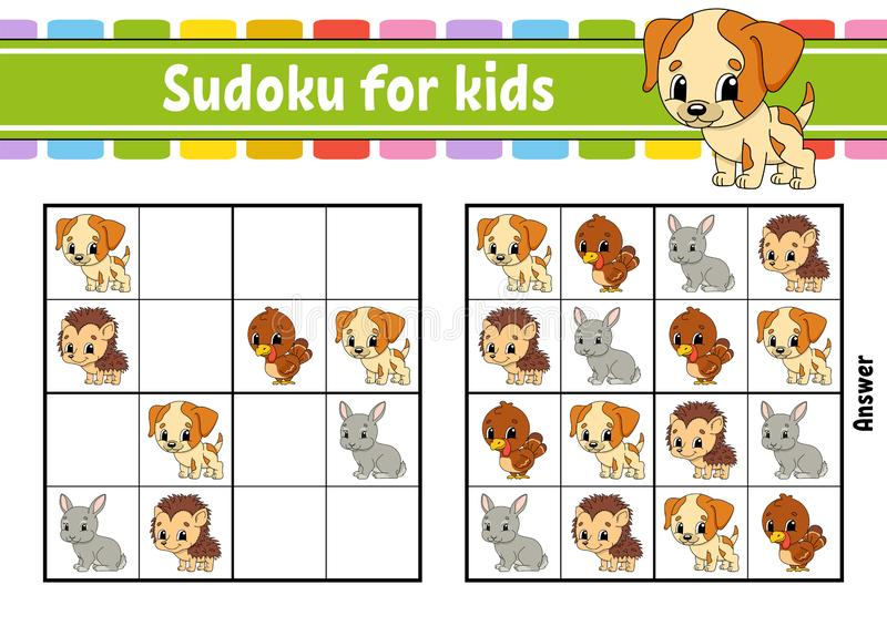Sudoku per i bambini Foglio di lavoro di sviluppo di istruzione Pagina di attività con le immagini Gioco di puzzle per i bambini  royalty illustrazione gratis