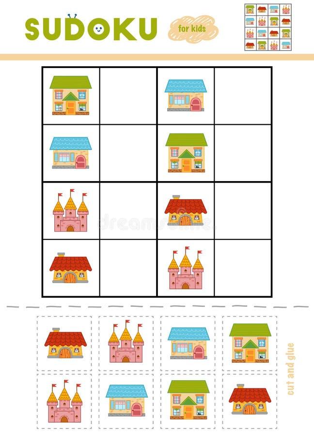 Sudoku per i bambini, gioco di istruzione Castello e case del fumetto illustrazione vettoriale