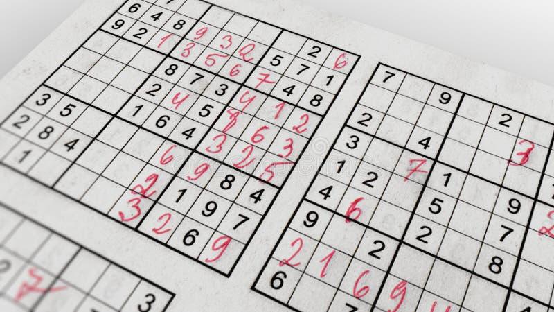Sudoku-Spiel mit Verwirrungsnetzen von Zahlen stock abbildung