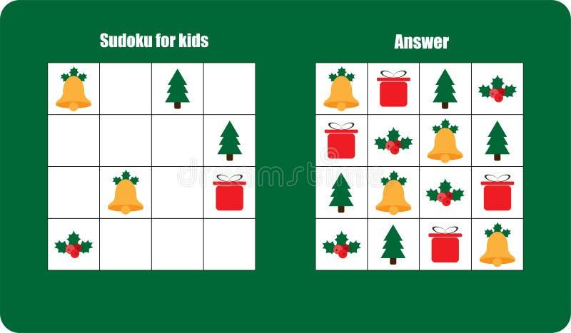 Sudoku-Spiel mit Weihnachtsbildglocke, Geschenk für Kinder, einfaches Niveau, Ausbildungsspiel für Kinder, Vorschularbeitsblatttä vektor abbildung