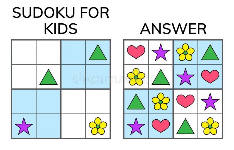 Sudoku Ungar och vuxen matematisk mosaik magisk fyrkant logik stock illustrationer