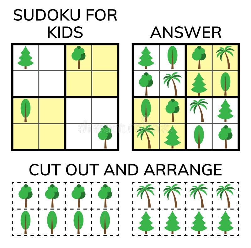 Sudoku Ungar och vuxen matematisk mosaik magisk fyrkant Logikpussellek Digital rebus stock illustrationer