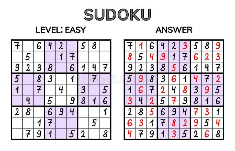 Sudoku Ungar och vuxen matematisk mosaik magisk fyrkant Logikpussellek Digital rebus vektor illustrationer