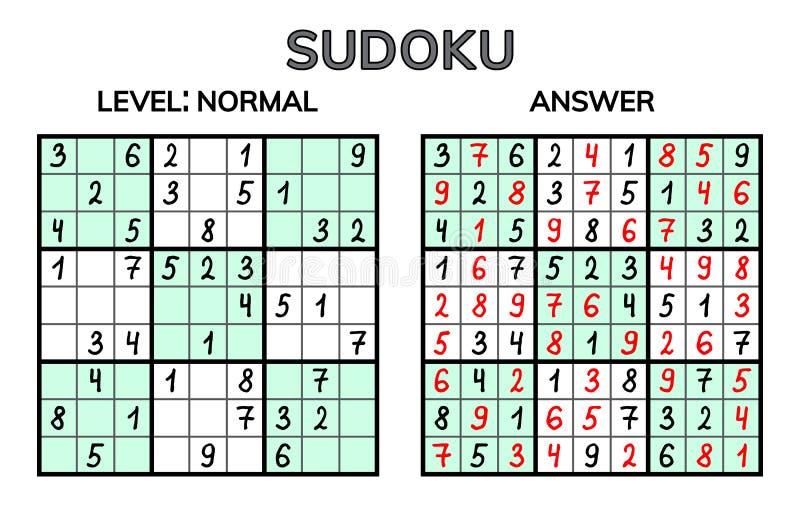 Sudoku Ungar och vuxen matematisk mosaik magisk fyrkant Logikpussellek Digital rebus royaltyfri illustrationer