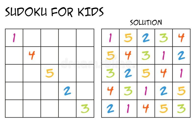 Sudoku voor jonge geitjes met oplossing - met kleurrijke aantallen vector illustratie