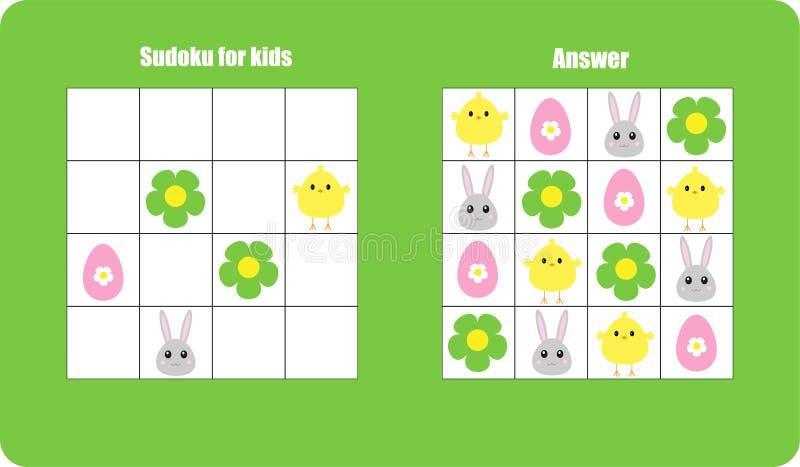 Sudokuspel met Pasen-beeldenei, konijntje, kuiken voor kinderen, gemakkelijk niveau, onderwijsspel voor jonge geitjes, peuteraant stock illustratie
