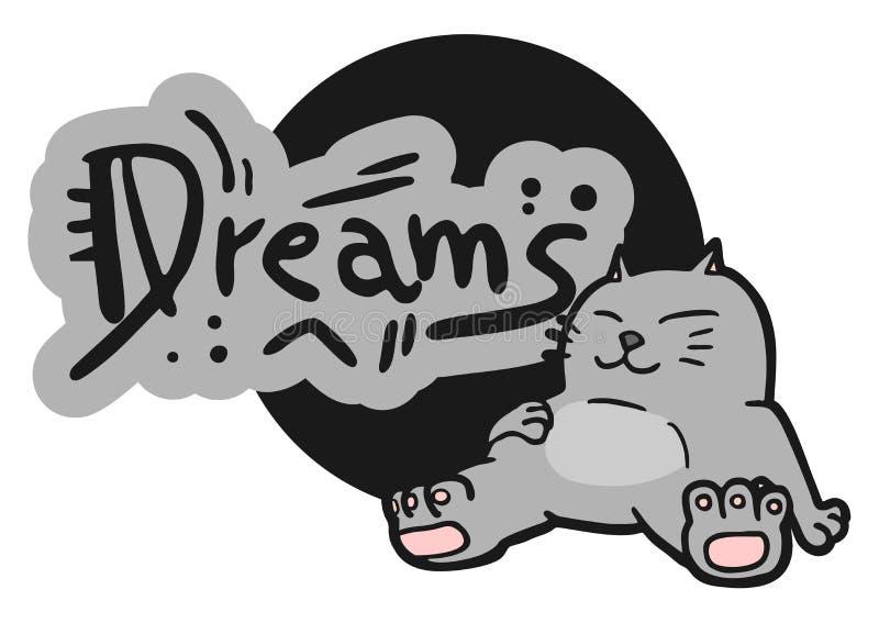 Sueña el gato stock de ilustración