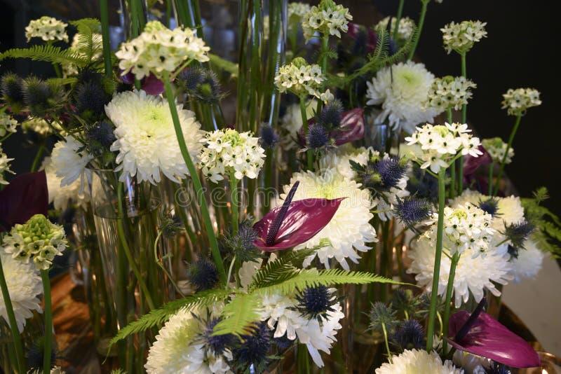 Sueño blanco de la flor del invierno con el crisantemo, Anturia, helecho, cardo, centro de flores hermoso imágenes de archivo libres de regalías