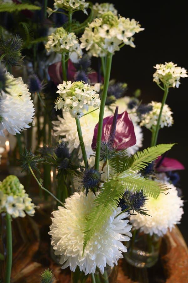 Sueño blanco de la flor del invierno con el crisantemo, Anturia, helecho, cardo, centro de flores hermoso foto de archivo