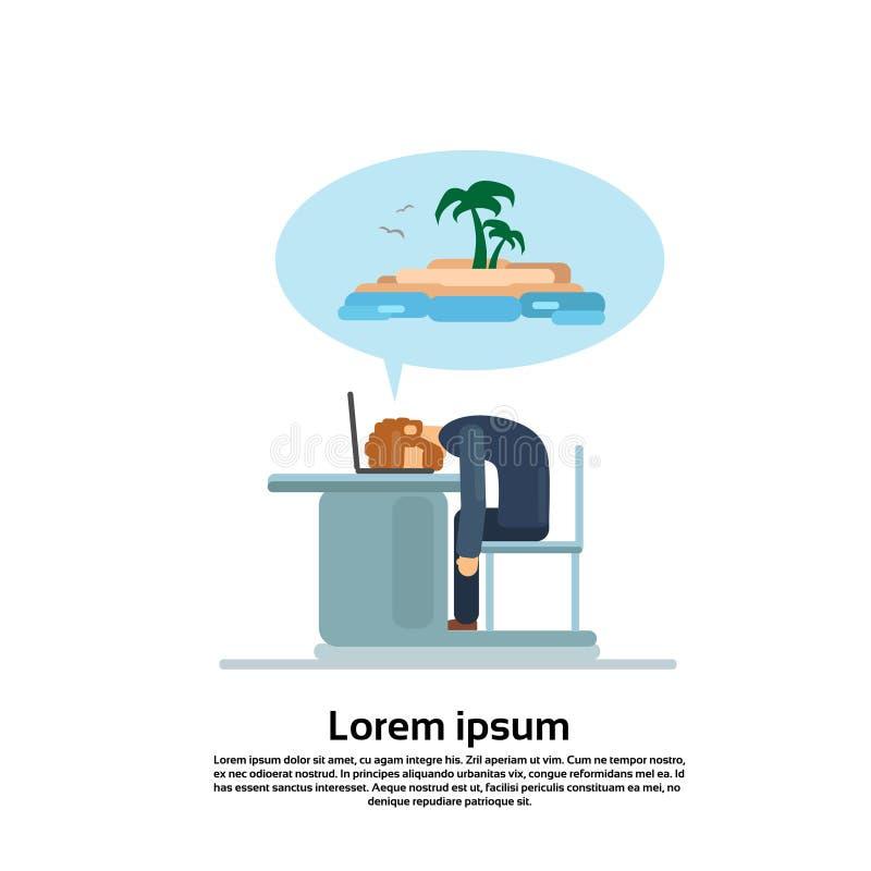 Sueño cansado del ordenador portátil del trabajo del hombre de negocios en el sueño de la tabla de las vacaciones de verano ilustración del vector