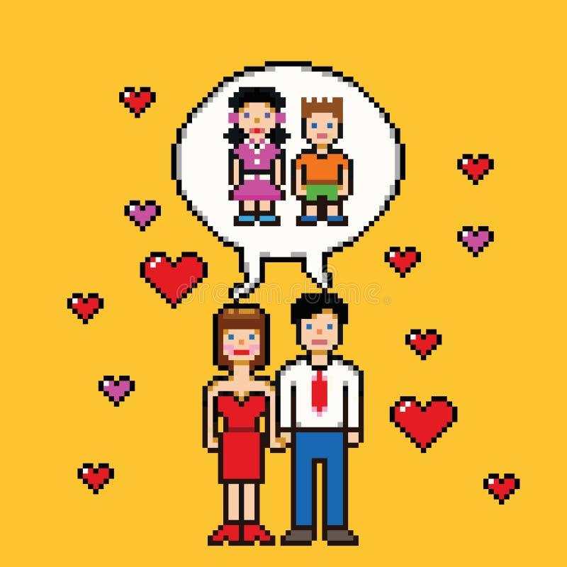 Sueño de la boda sobre concepto del estilo del arte del pixel de los niños libre illustration