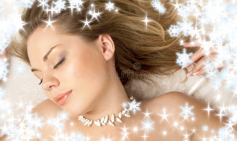 Sueño de la Navidad de la muchacha del seashell foto de archivo libre de regalías