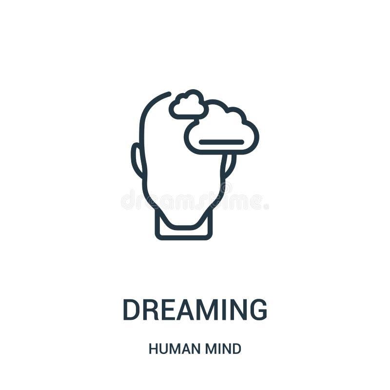 sueño de vector del icono de la colección de la mente humana Línea fina que sueña el ejemplo del vector del icono del esquema Sím stock de ilustración
