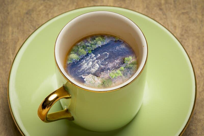 Sueño del café del río de Whitewater foto de archivo